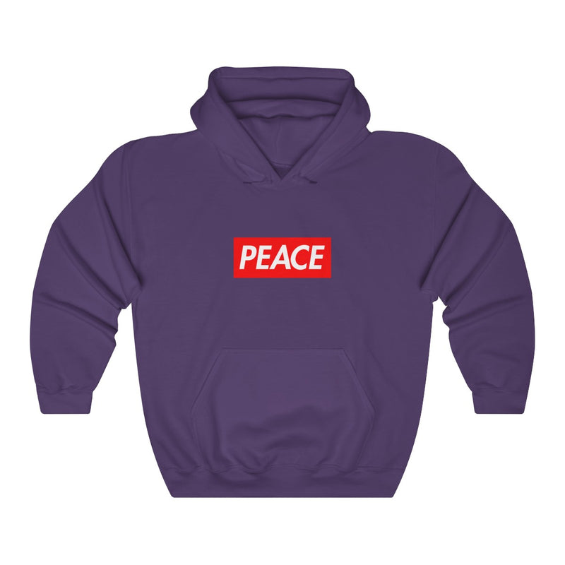 Peace Red Box Logo Heavy Blend™ Hoodie-Purple-S-Archethype