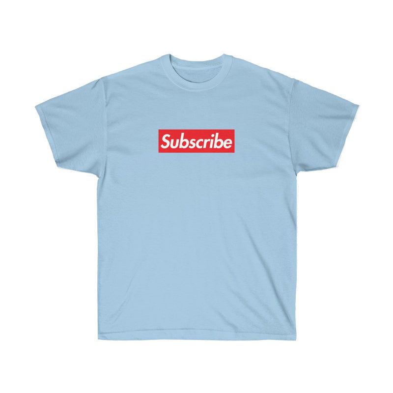 Subscribe Red Box Logo Unisex Ultra Cotton Tee - For Youtube channel owners-Light Blue-S-Archethype