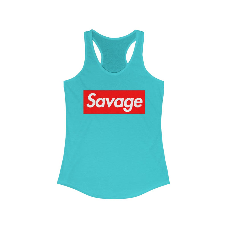 Savage Red Box Logo Women's Ideal Racerback Tank-Solid Tahiti Blue-XS-Archethype