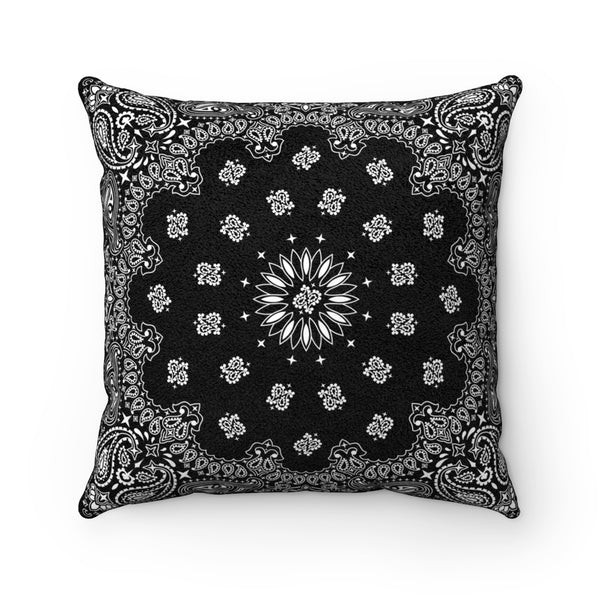 "Black Bandana Faux Suede Square Pillow-14"" x 14""-Archethype"