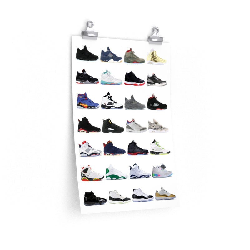 Nike Air Jordans Hall of Fame Poster - Michael Jordan Wall Art-12″ × 18″-Archethype