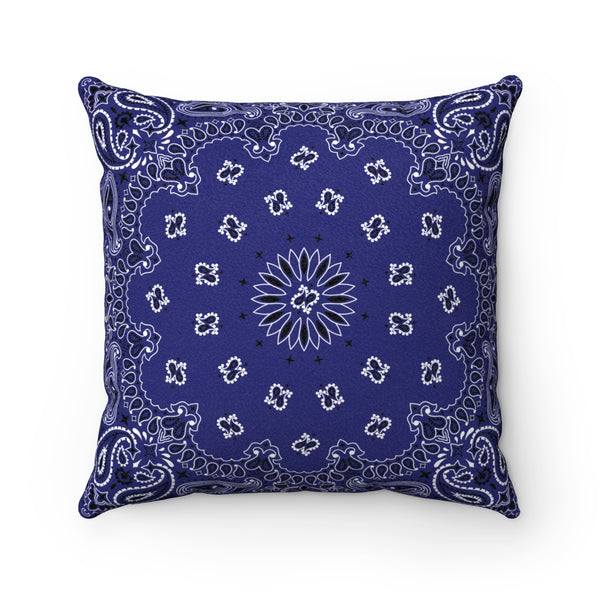 "Blue Bandana Faux Suede Square Pillow-14"" x 14""-Archethype"