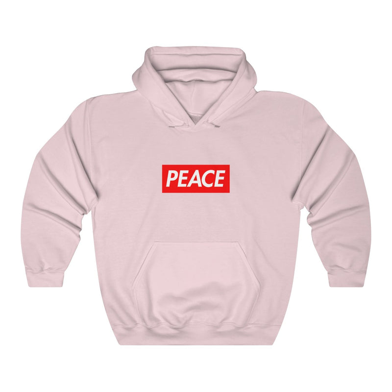 Peace Red Box Logo Heavy Blend™ Hoodie-Light Pink-S-Archethype