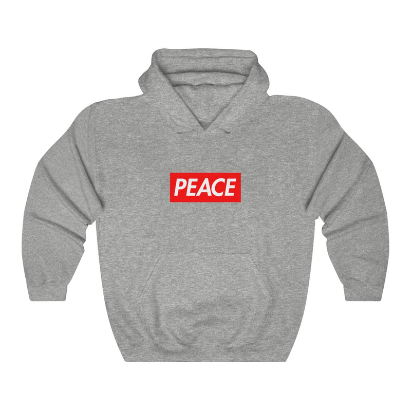 Peace Red Box Logo Heavy Blend™ Hoodie-Sport Grey-S-Archethype
