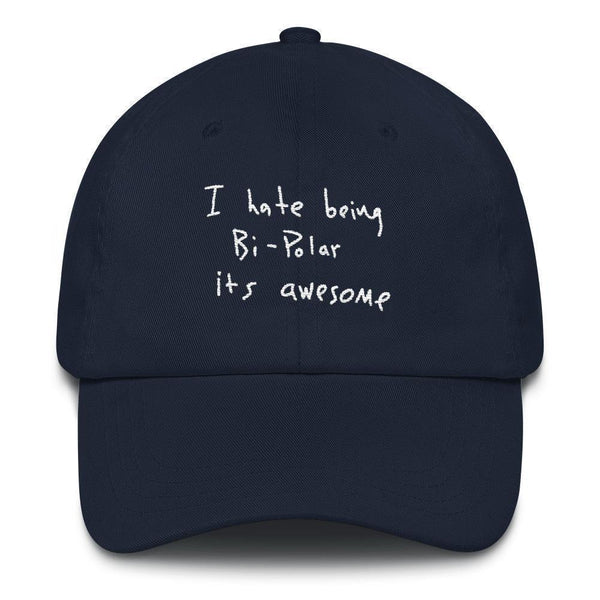 I Hate Being Bi-Polar It's Awesome Kanye West inspired Embroidery Dad Hat / Cap-Navy-Archethype