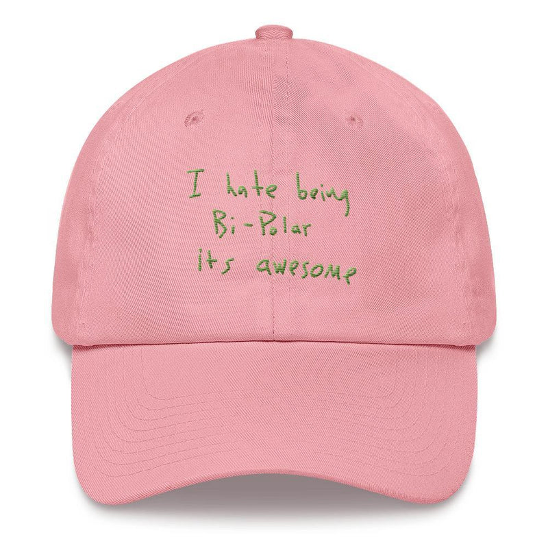 I Hate Being Bi-Polar It's Awesome Kanye West inspired Embroidery Dad Hat / Cap-Pink-Archethype