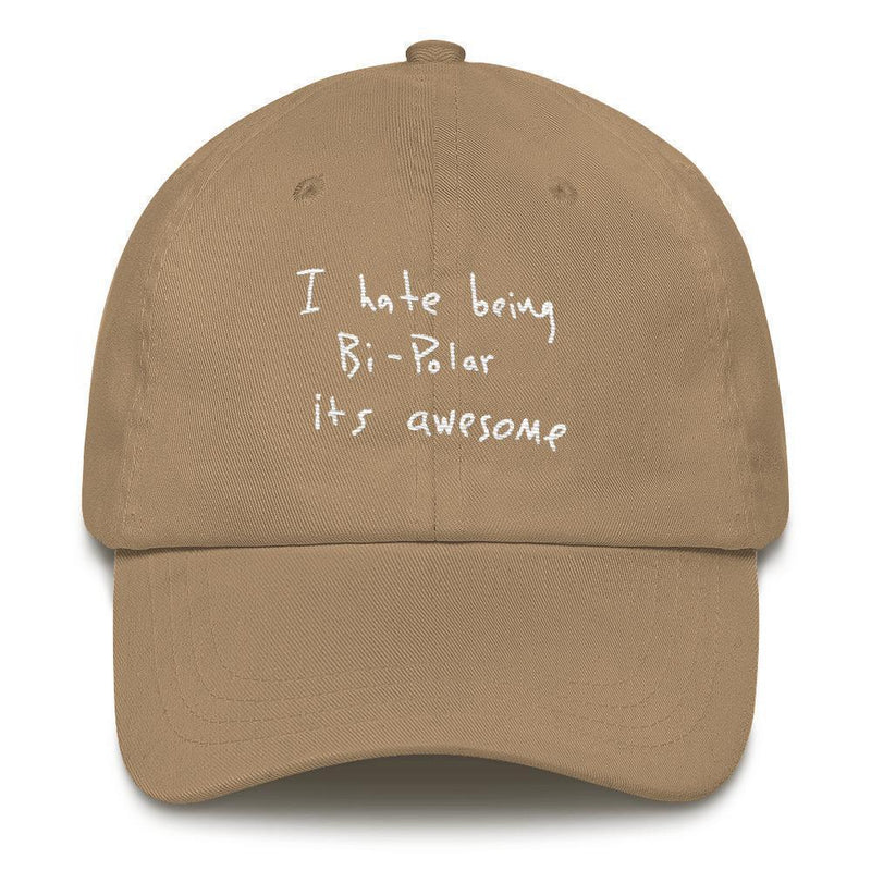I Hate Being Bi-Polar It's Awesome Kanye West inspired Embroidery Dad Hat / Cap-Khaki-Archethype