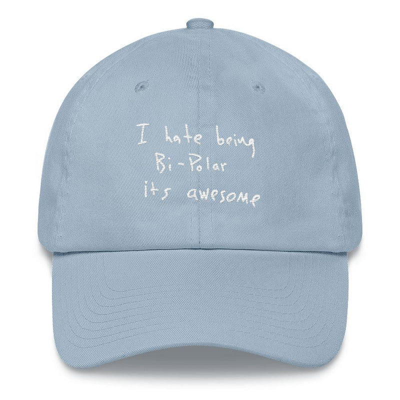 I Hate Being Bi-Polar It's Awesome Kanye West inspired Embroidery Dad Hat / Cap-Light Blue-Archethype
