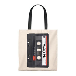 Mixtape Tape Tote Bag - 90S Retro Hip Hop-Natural/Black-Archethype