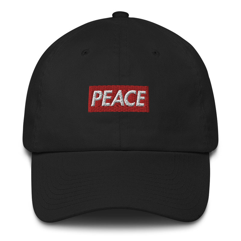 Peace Bogo Made in USA Dad Cap Cotton Hat - Box logo-Black-Archethype