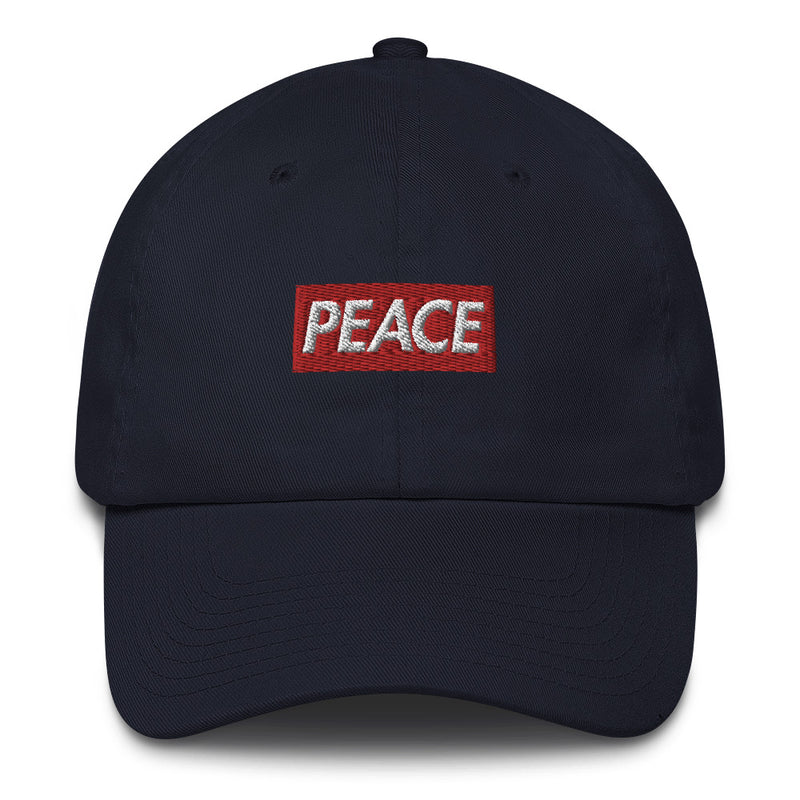 Peace Bogo Made in USA Dad Cap Cotton Hat - Box logo-Navy-Archethype
