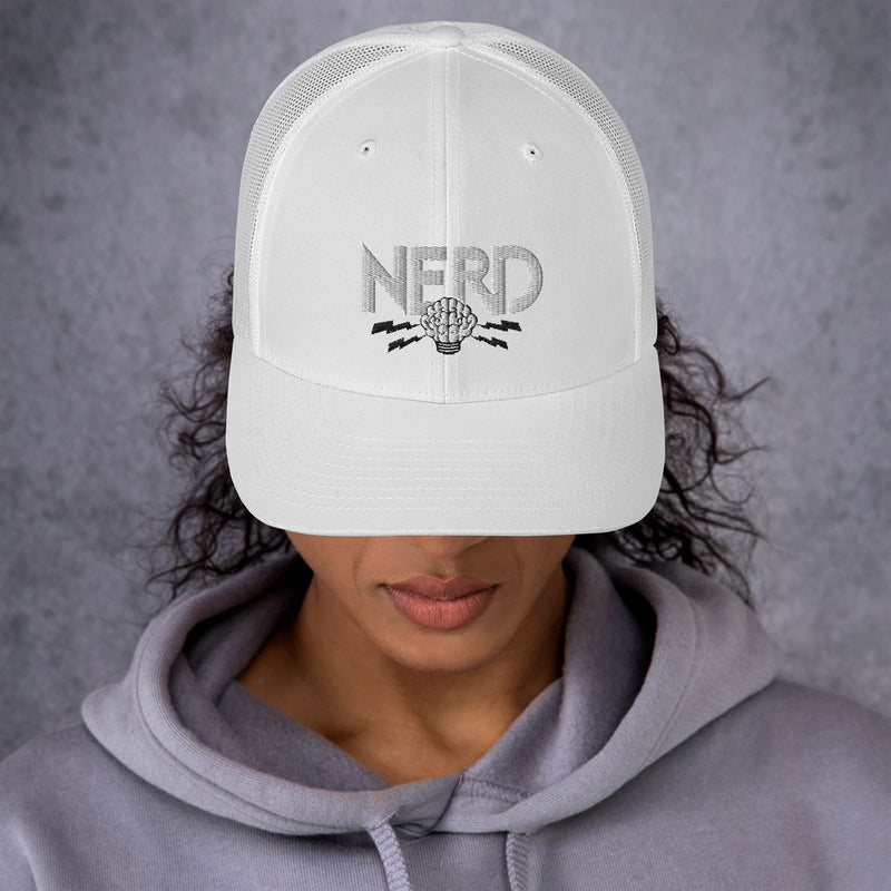 NERD Brain Logo Trucker Cap - Pharrell WIlliams Inspired-White-Archethype