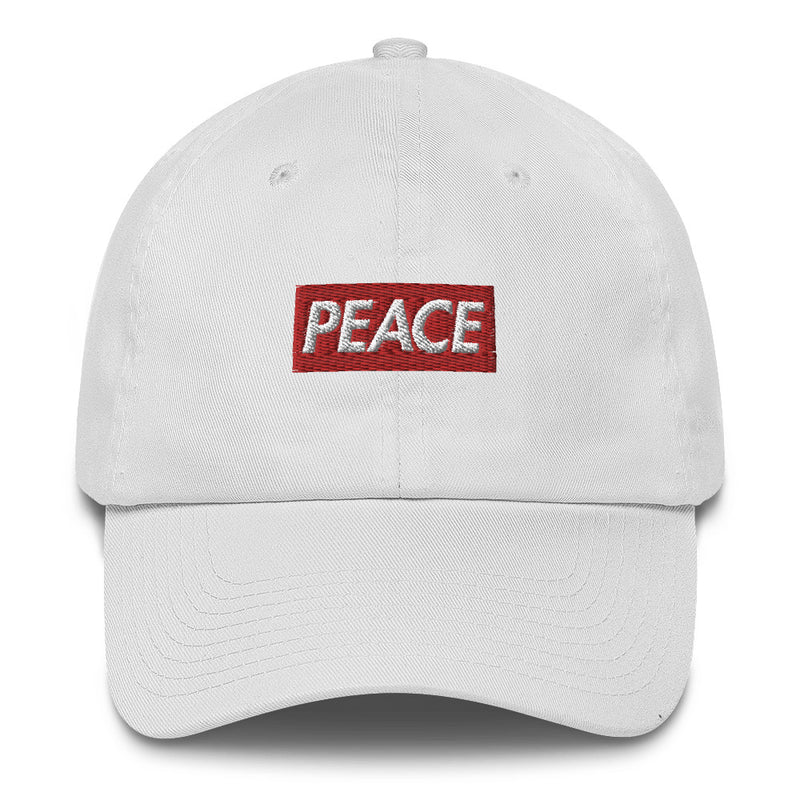Peace Bogo Made in USA Dad Cap Cotton Hat - Box logo-White-Archethype