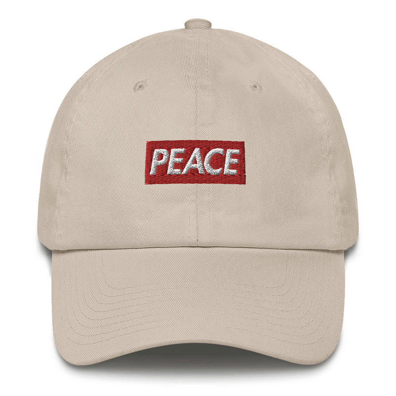 00446d8712c Peace Bogo Made in USA Dad Cap Cotton Hat - Box logo Supreme inspired-Stone