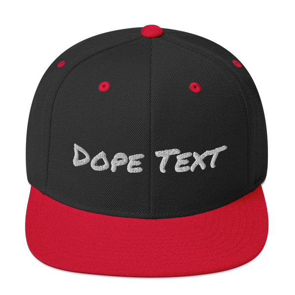 Custom embroidered text Snapback Cap - Free personalization customization Hat Cap-Black/ Red-Archethype