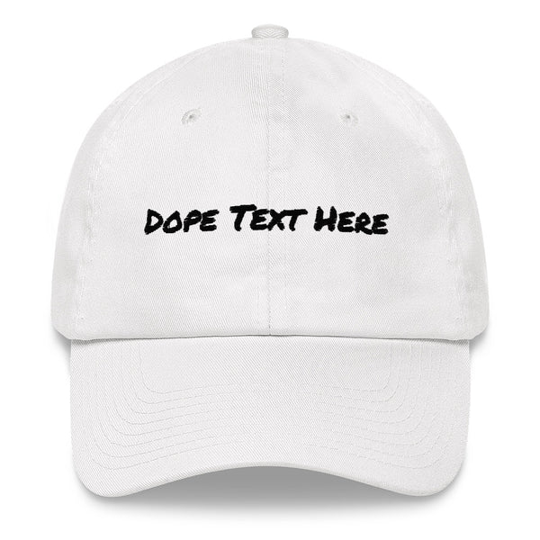 Custom embroidered Dad hat - Put your personalized text on this dope dad cap-White-Archethype