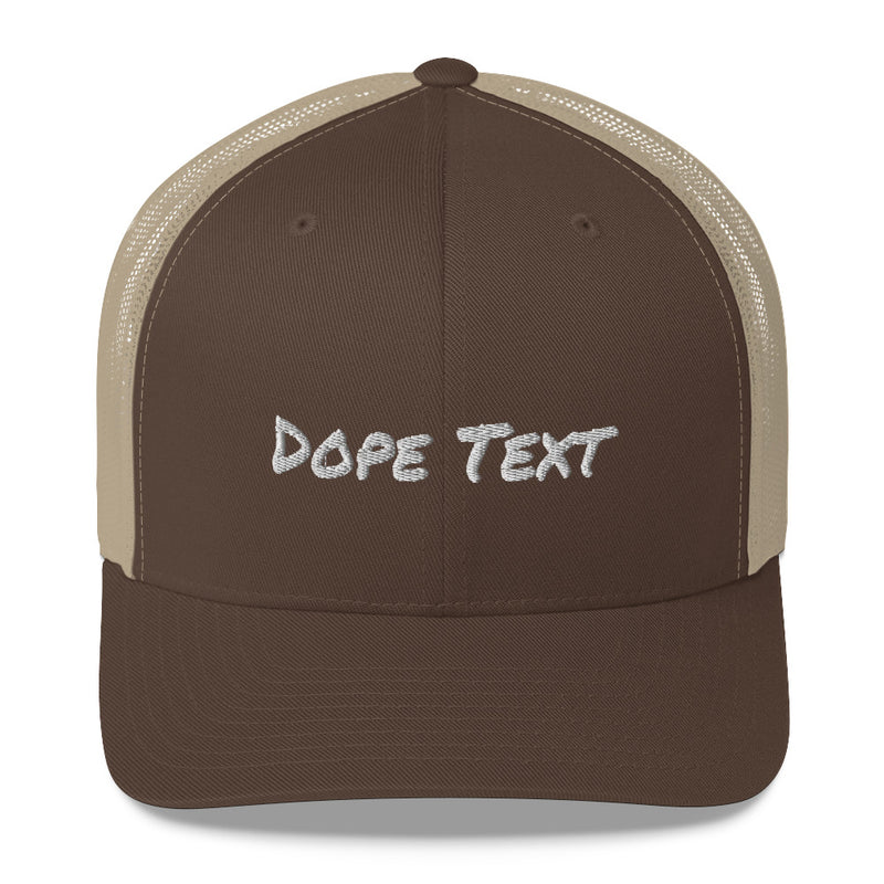 Custom embroidered text Trucker Cap - Free personalization customization Trucker Hat Cap-Brown/ Khaki-Archethype