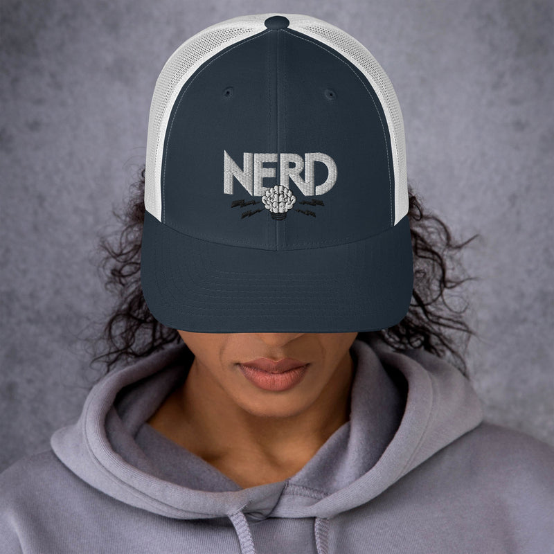 NERD Brain Logo Trucker Cap - Pharrell WIlliams Inspired-Navy/ White-Archethype