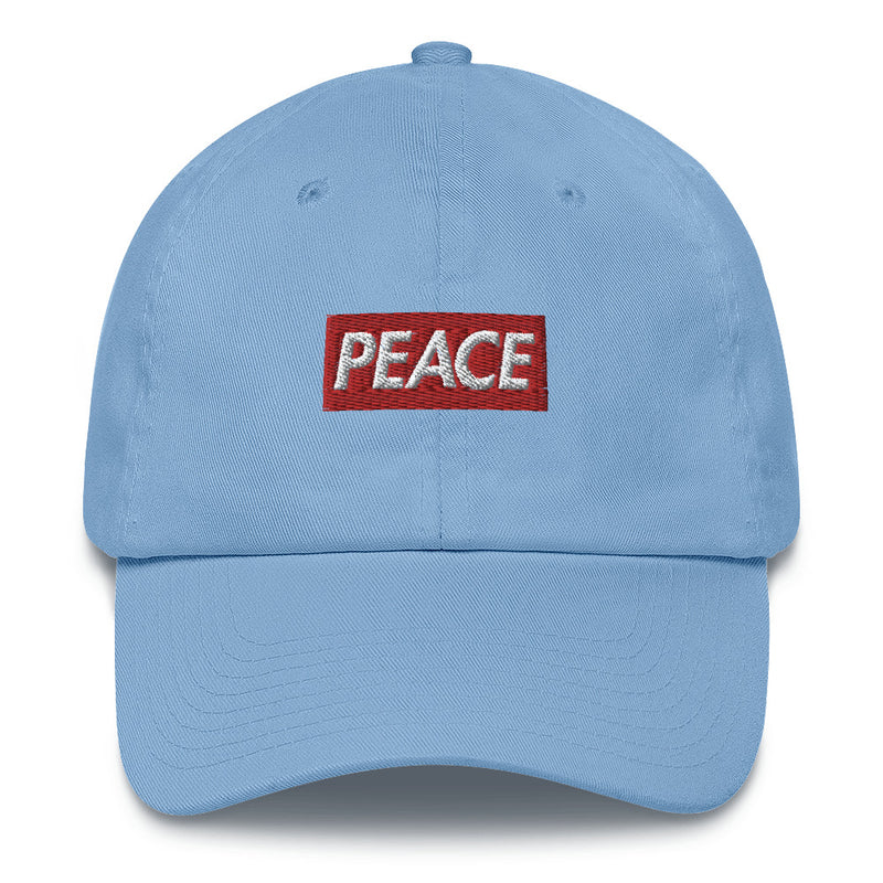 Peace Bogo Made in USA Dad Cap Cotton Hat - Box logo-Carolina Blue-Archethype