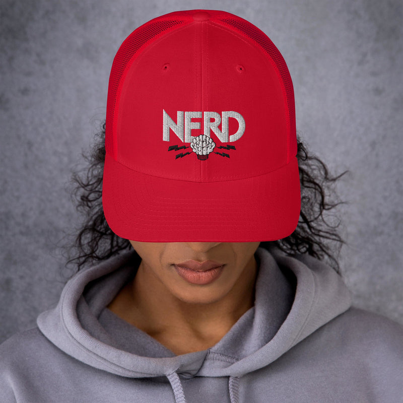 NERD Brain Logo Trucker Cap - Pharrell WIlliams Inspired-Red-Archethype
