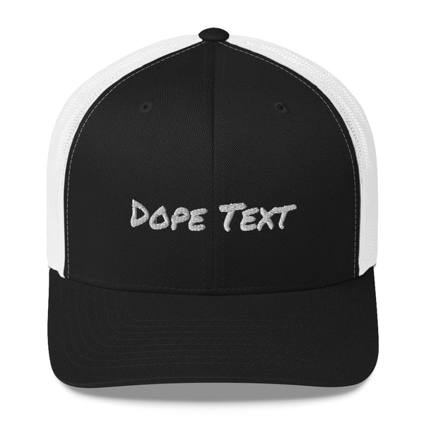 Custom embroidered text Trucker Cap - Free personalization customization Trucker Hat Cap-Black/ White-Archethype