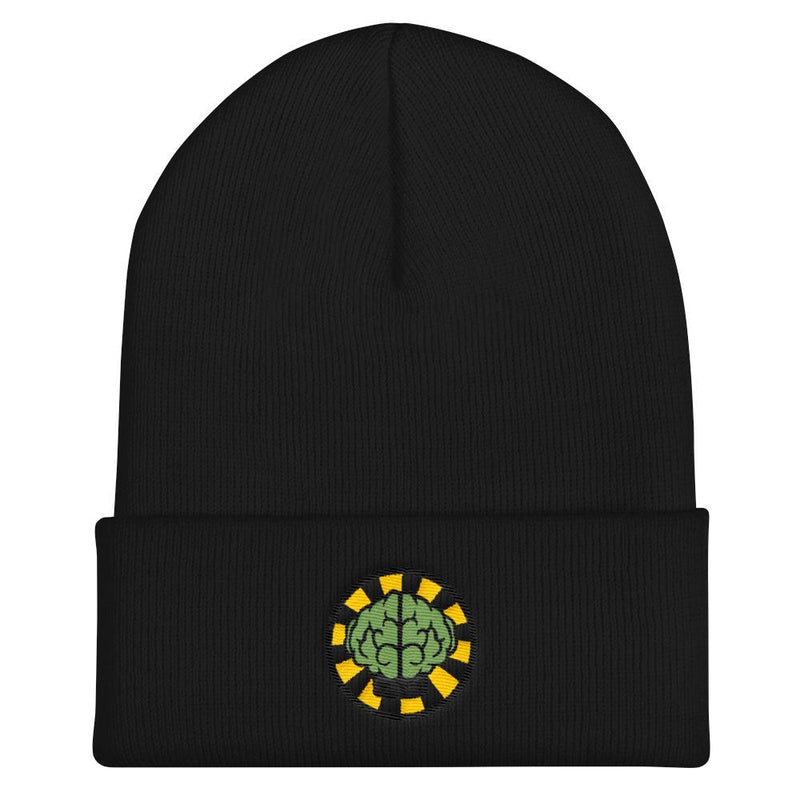 NERD Brain logo embroidery Cuffed Beanie. Pharrell Williams, Chad Hugo & Shay Haley N*E*R*D inspired-Black-Archethype