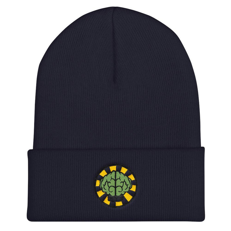 NERD Brain logo embroidery Cuffed Beanie. Pharrell Williams, Chad Hugo & Shay Haley N*E*R*D inspired-Navy-Archethype