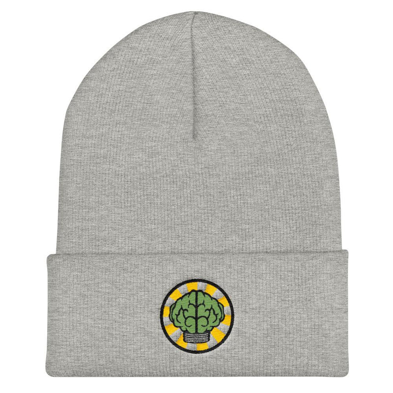 NERD Brain logo embroidery Cuffed Beanie. Pharrell Williams, Chad Hugo & Shay Haley N*E*R*D inspired-Heather Grey-Archethype