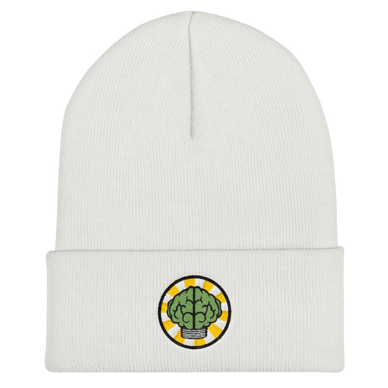 NERD Brain logo embroidery Cuffed Beanie. Pharrell Williams, Chad Hugo & Shay Haley N*E*R*D inspired-White-Archethype