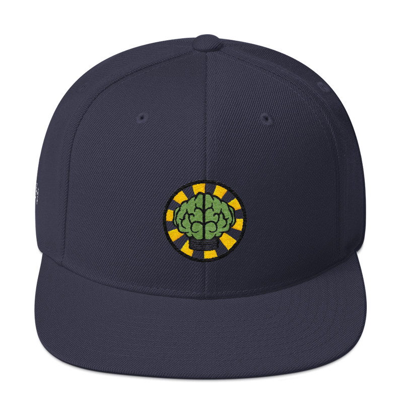 NERD Brain logo embroidery Snapback Cap. Pharrell Williams, Chad Hugo & Shay Haley.-Navy-Archethype