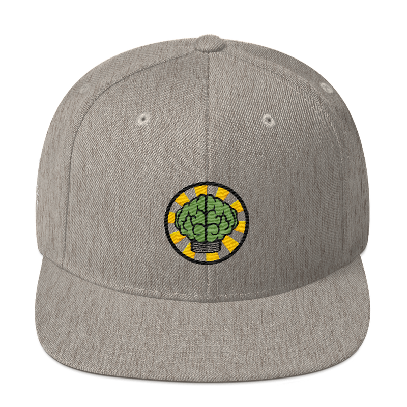 NERD Brain logo embroidery Snapback Cap. Pharrell Williams, Chad Hugo & Shay Haley.-Heather Grey-Archethype