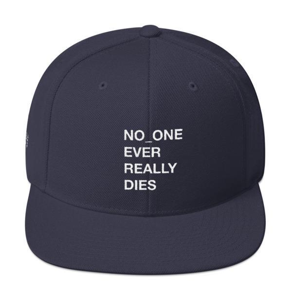 NERD NO_ONE Ever Really Dies logo embroidery Snapback Cap-Navy-Archethype
