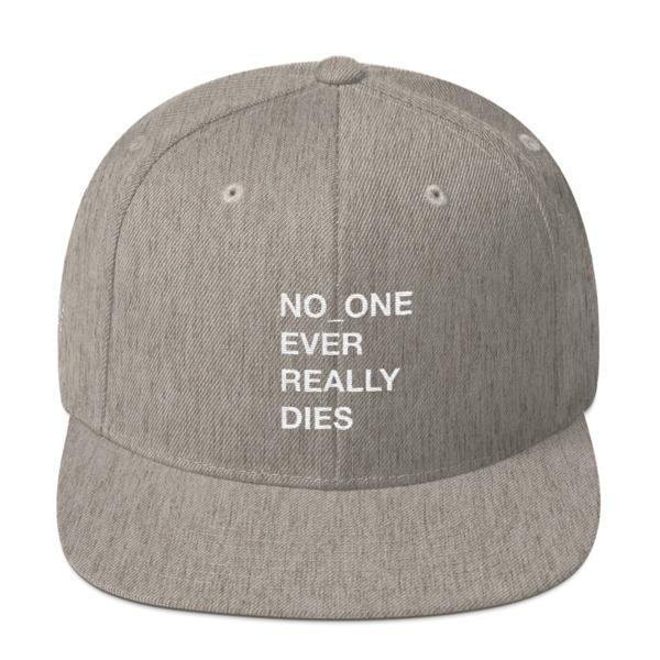 NERD NO_ONE Ever Really Dies logo embroidery Snapback Cap-Heather Grey-Archethype