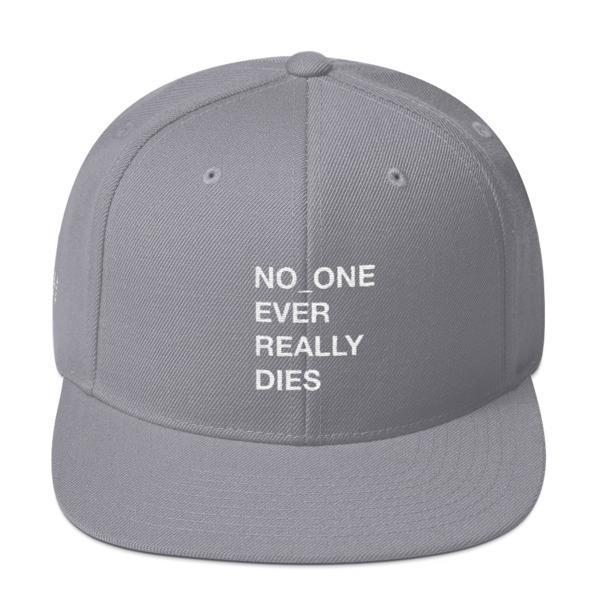NERD NO_ONE Ever Really Dies logo embroidery Snapback Cap-Silver-Archethype