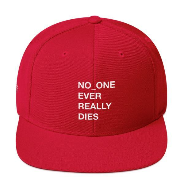 NERD NO_ONE Ever Really Dies logo embroidery Snapback Cap-Red-Archethype
