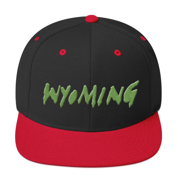 Wyoming Merch Snapback Hat-Black/ Red-Archethype