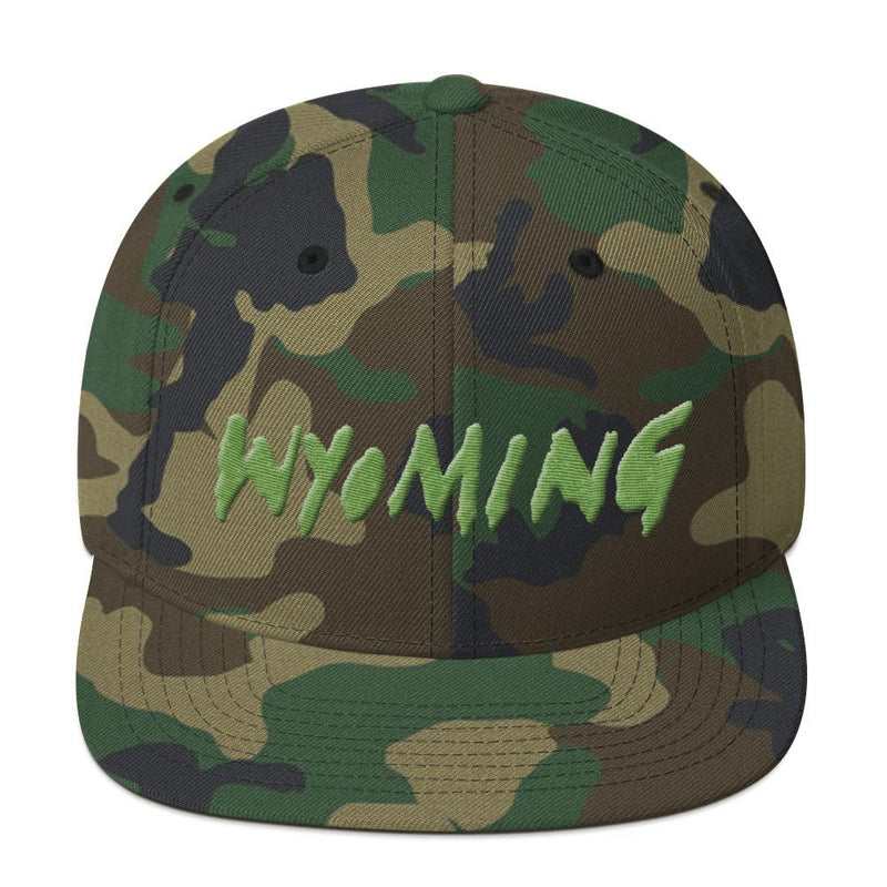 Wyoming Merch Snapback Hat-Green Camo-Archethype