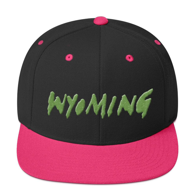 Wyoming Merch Snapback Hat-Black/ Neon Pink-Archethype