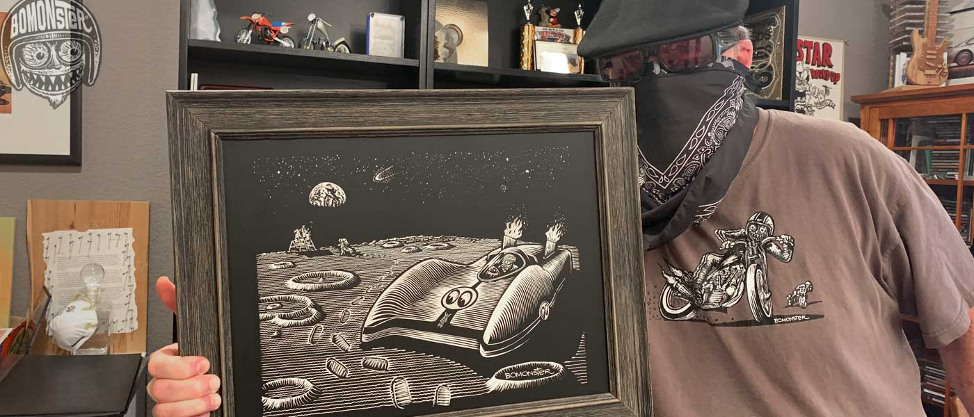 bomonster holding mooneyes original art