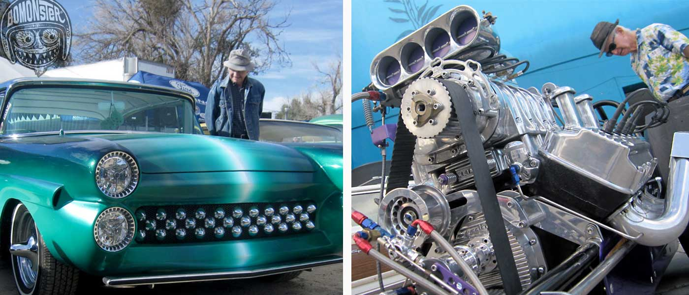 bomonster's dad at gene winfield's custom shop and dragster