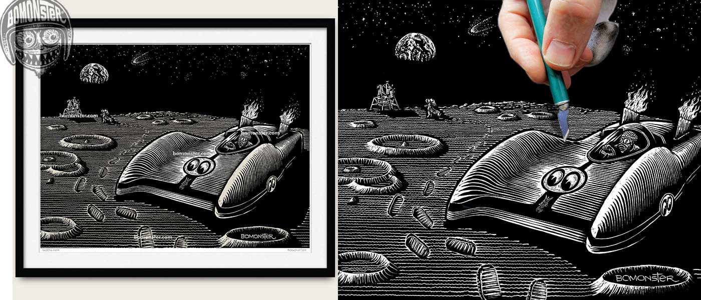 bomonster mooneyes moonliner art print