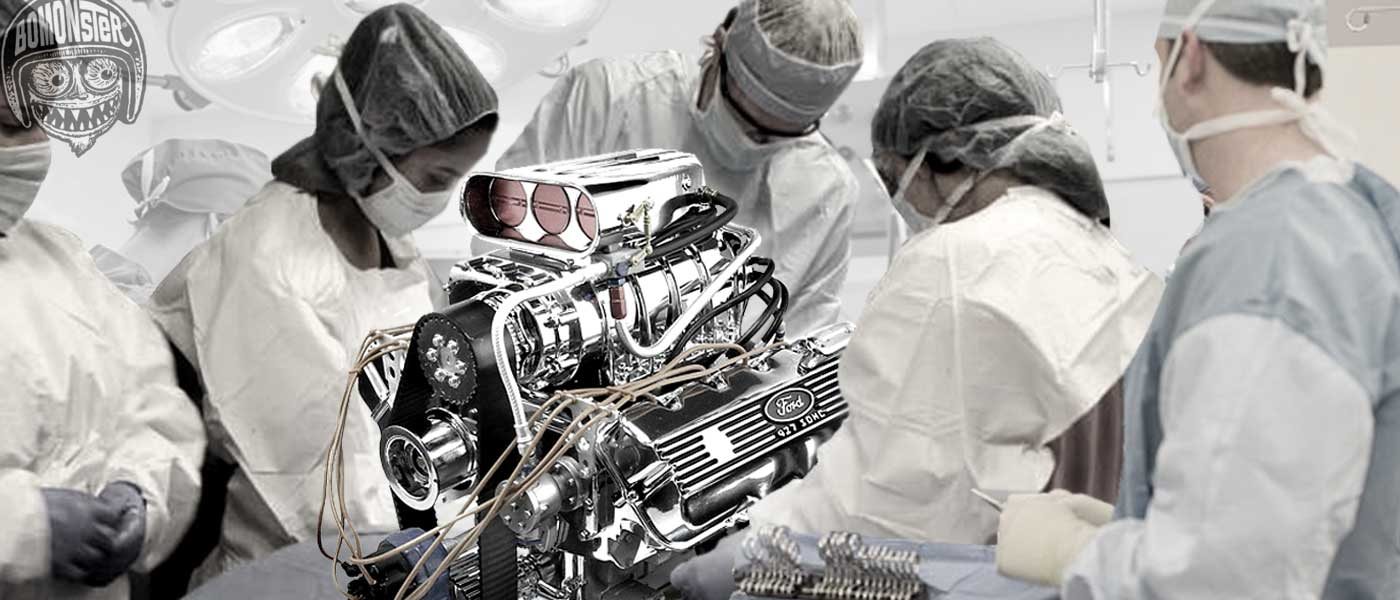 bomonster hospital scene as surgeons work on blown fuel motor