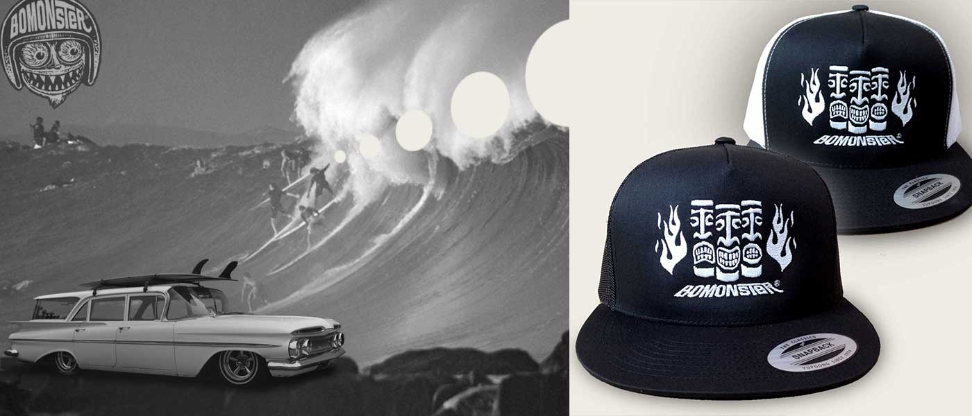 big waves and a chevy impala station wagon look good next to bomonster tiki trucker hat