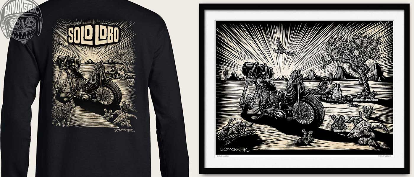 vintage harley chopper scene on a shirt or print by bomonster