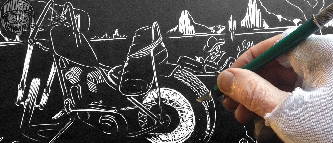 bomonster hand scratches a harley chopper design
