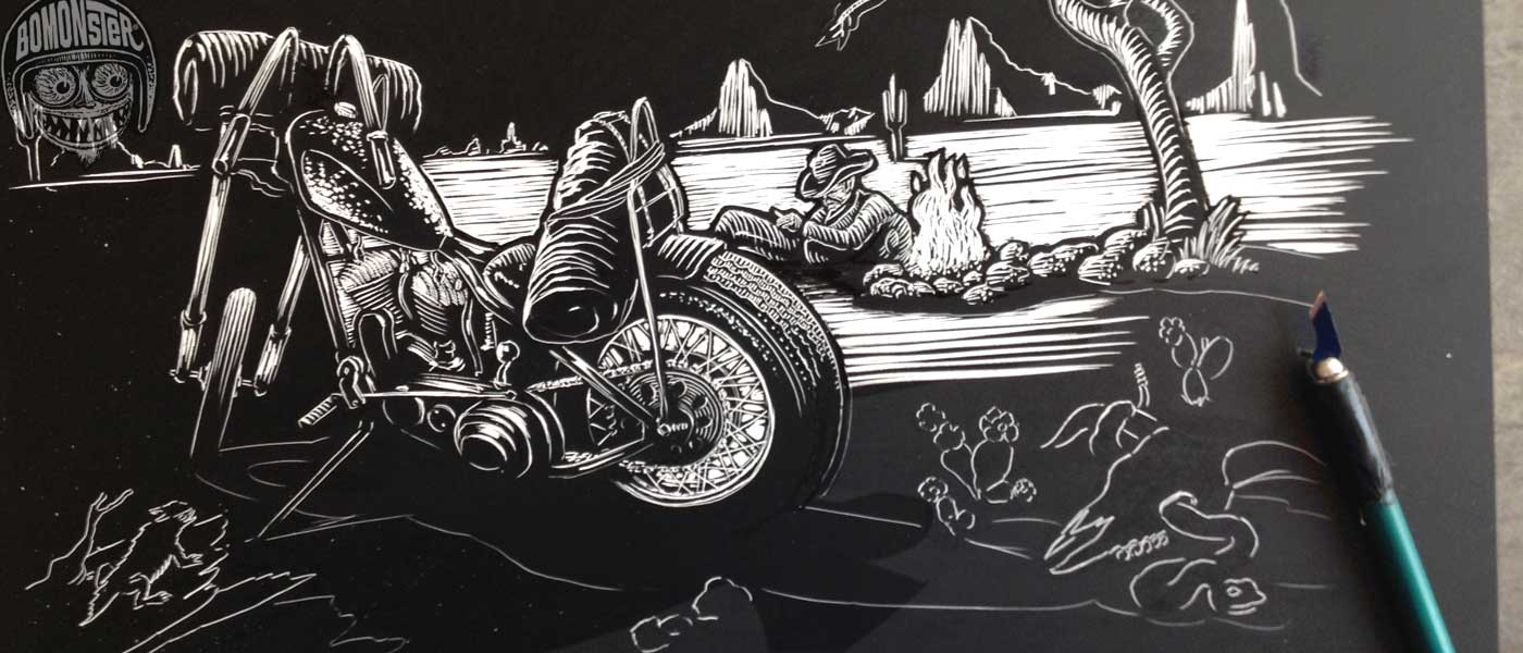 bomonster hand scratched motorcycle image