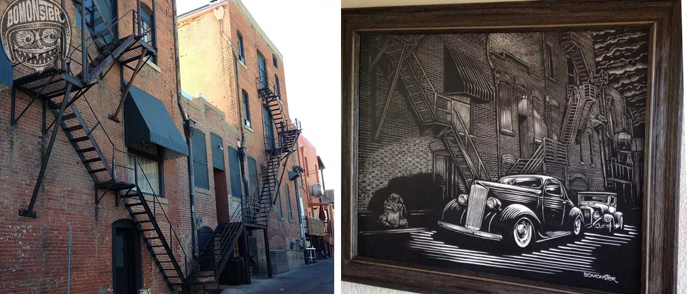 alley in prescott, az that inspired bomonster's art