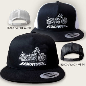 trucker hat with harley chopper design by bomonster
