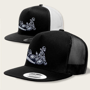 skeleton on dirt bike trucker hat by bomonster