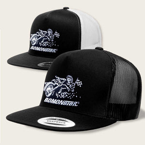 flat track racing design on bomonster trucker hat